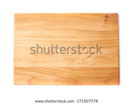 Unused brand new pine wooden cutting board isolated over the white background, top view above foreshortening - stock photo