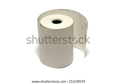 Unused roll of paper for cash register or other financial machine isolated on white background. - stock photo