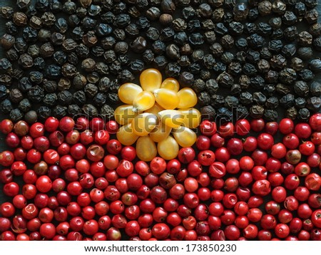 Unusual Aboriginal flag made of food and condiments - stock photo
