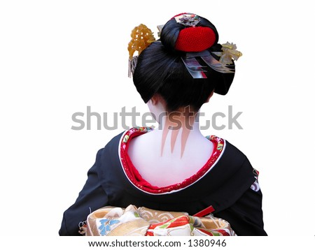 Unusual and very characteristic painted neck of a geisha.,over white background. - stock photo