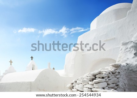 Unusual architecture of The Church of Panagia Paraportiani in Mykonos, Greece.  - stock photo