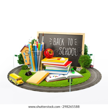Unusual Back to school concept. Illustration of education theme - stock photo