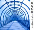 unusual blue concentric tunnel with shadows - stock photo
