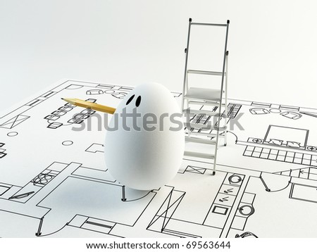 Unusual cartoon egg an architect