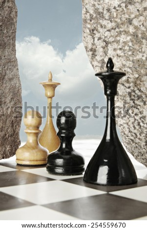 Unusual chess battle. Focus on white queen - stock photo