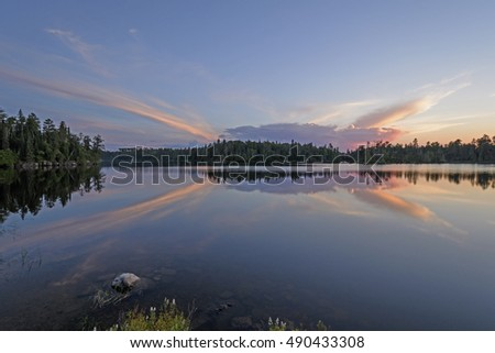 Unusual Clouds at Sunset in the North Woods on Saganagons Lake in Quetico Provincial Park in Ontario