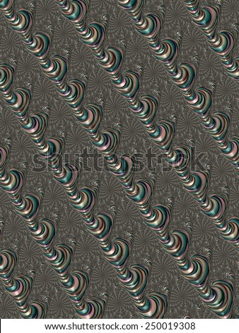 Unusual colorful chained shells fractal design background  - stock photo