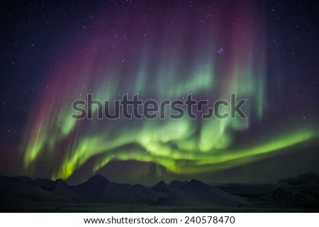 Unusual colorful Northern Lights - Arctic landscape - stock photo