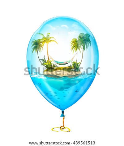 Unusual 3d illustration of fantastic tropical island with palms and hammock in the ocean inside of Inflatable air balloon. Concept travel illustration Isolated at white