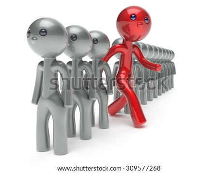 Unusual different man character people individuality red stand out from the crowd unique think differ person otherwise run to new opportunities concept referendum vote icon 3d render isolated - stock photo