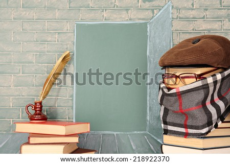 Unusual education concept. Through books open way in world of knowledge - stock photo