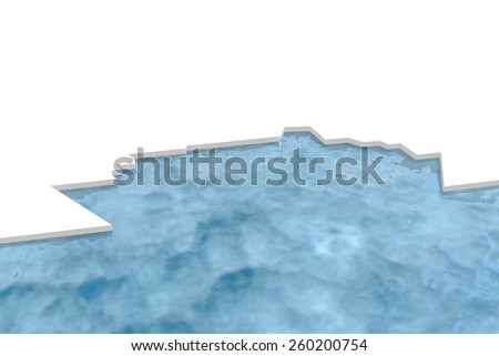 unusual ferry boat ice icon in ocean water - stock photo