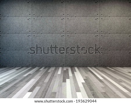 Unusual grey toned room interior with a dark grey wall and parquet flooring in shades of grey, architectural background