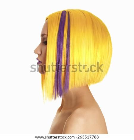 Unusual hairs.Yellow purple Hair. Haircut. Beautiful Girl with Short Hair. Hairstyle. Bob. Fringe. Profile Portrait of Fashion Beauty Woman - stock photo