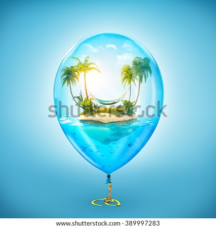 Unusual illustration of fantastic tropical island with palms and hammock in the ocean inside of Inflatable air balloon