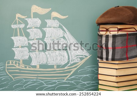 Unusual joky education lesson of history, geography - stock photo