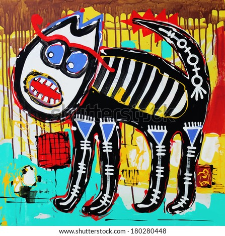 Unusual original art composition of doodle angry cat. Raster version. Acrylic painting - stock photo