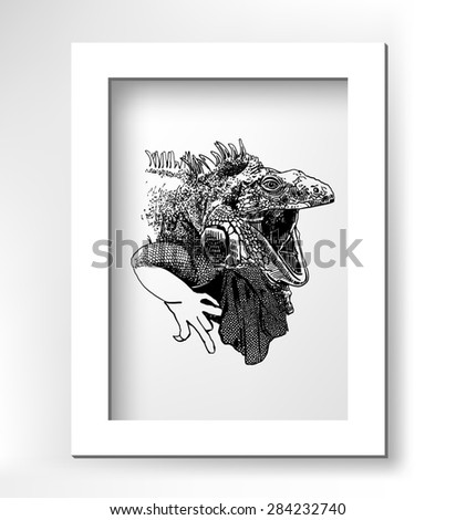 unusual original artwork of iguana lizard with mouth open, realistic sketch black and white drawing of reptile with white minimalistic frame, animal side view  raster version illustration - stock photo