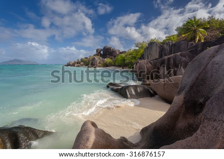 Unusual Rock Formations On The Most Beautiful Beach In The Seychelles