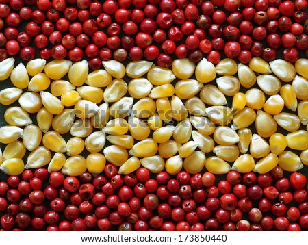Unusual Spain flag made of food and condiments - stock photo