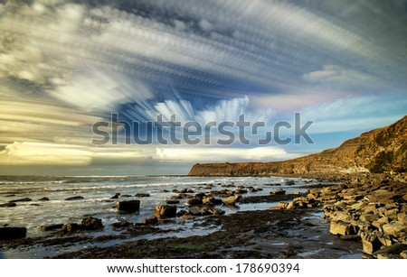 Unusual time lapse photography stack technique unique abstract image - stock photo