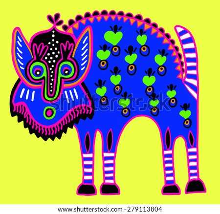 unusual Ukrainian traditional tribal art in karakoko style, folk ethnic animal,  raster version - stock photo