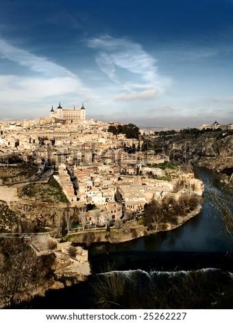 Unusual view of Toledo, Spain - stock photo