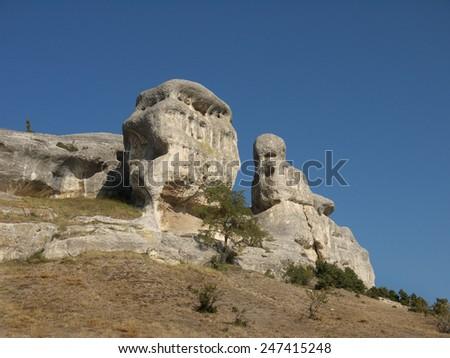 unusual white limestone rock on a background of blue sky, Crimea, Ukraine - stock photo