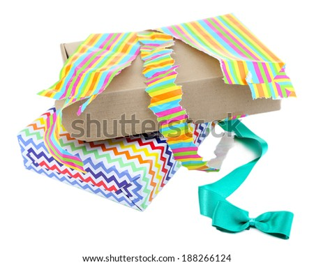 Unwrapped and opened gift box isolated on white - stock photo