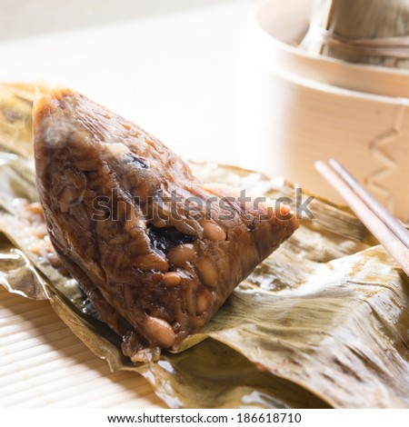 Unwrapped rice dumpling or zongzi. Traditional steamed sticky glutinous rice dumplings. Chinese food dim sum. Asian cuisine. - stock photo