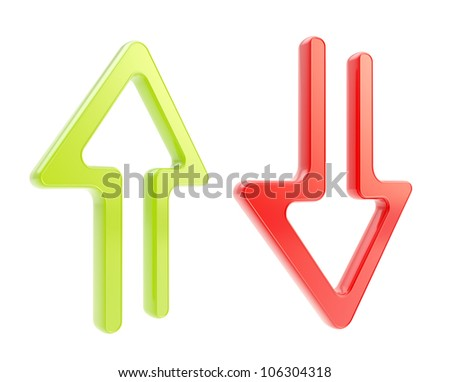 Up and down arrow glossy plastic icons isolated on white - stock photo