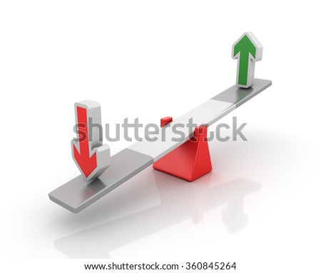 Up and Down Arrows Balancing on a Seesaw - Balance Concept - High Quality 3D Render  - stock photo