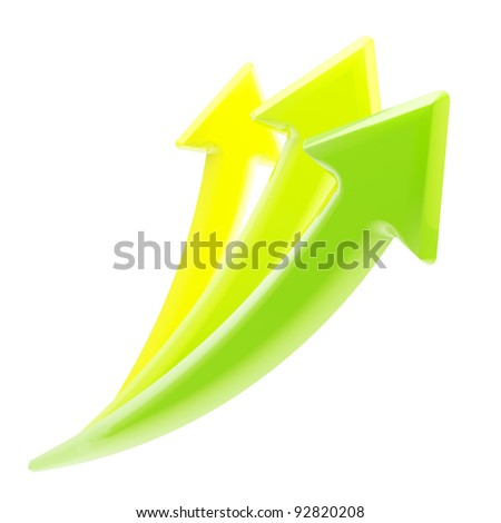 Up and growth: set of three yellow, green glossy growing arrows isolated on white