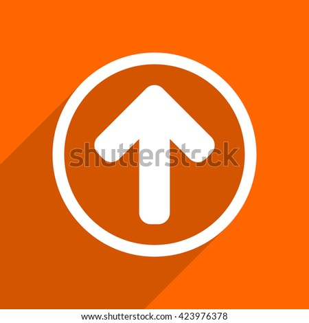 up arrow icon. Orange flat button. Web and mobile app design illustration - stock photo