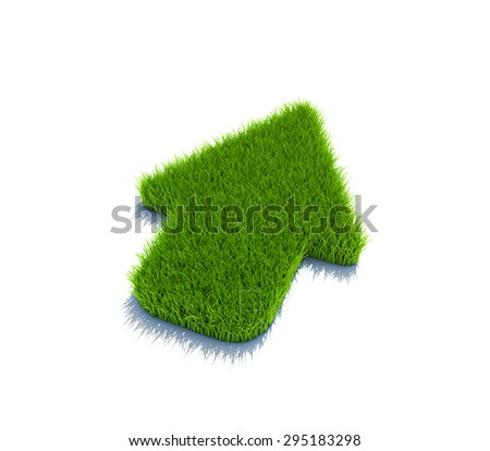 Up arrow symbol from grass. 3d render isolated on white. - stock photo