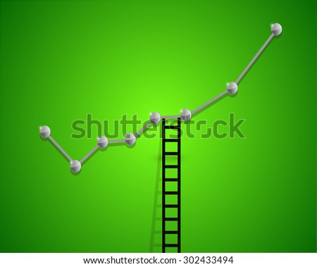 up business graph and ladder concept illustration design - stock photo
