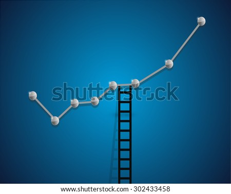 up business graph and ladder concept illustration design background - stock photo