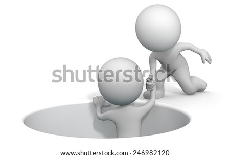 Up from the Bottom. The dude 3D character giving helping hand. - stock photo
