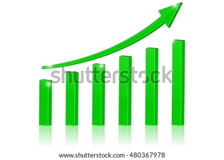 Up green arrow, statistic rising trend. Illustration isolated on white background. Raster version