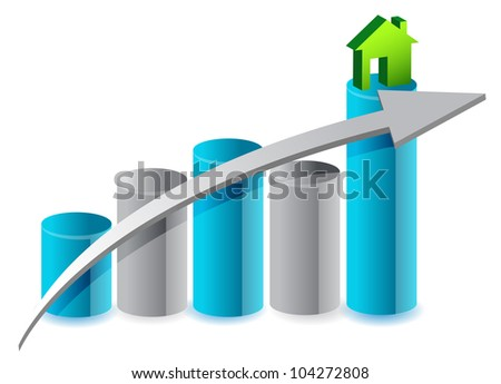 up house market illustration design over white - stock photo