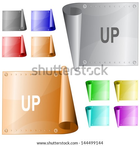 Up. Metal surface. Raster illustration. Vector version is in my portfolio. - stock photo
