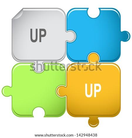 Up. Raster puzzle. Vector version is in portfolio. - stock photo