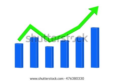 Up Rising trend. Statistic graph. Illustration isolated on white background. Raster version