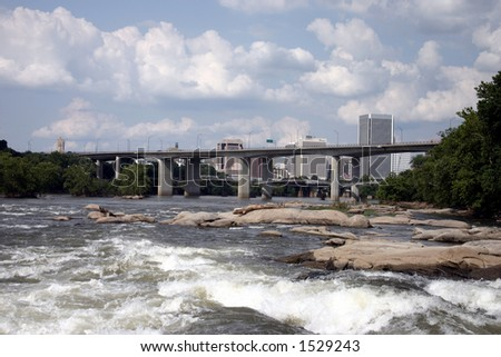 Up River View of Downtown Richmond Virginia - stock photo