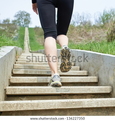 Up stairs we go - stock photo
