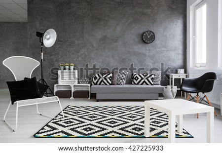 Up-to-date elegant black and whitedecor of living room of businesspeople