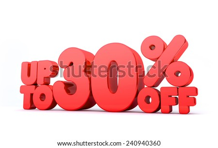 Up to 30% Off 3D Render Red Word Isolated in White Background - stock photo