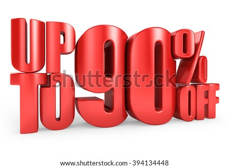 Up to 90% Off 3D Render Red Word Isolated in White Background - stock photo