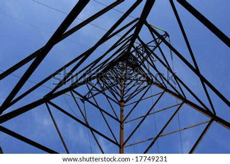 up view inhigh-tension transmission line