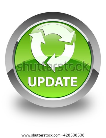 Update (refresh icon) glossy green round button